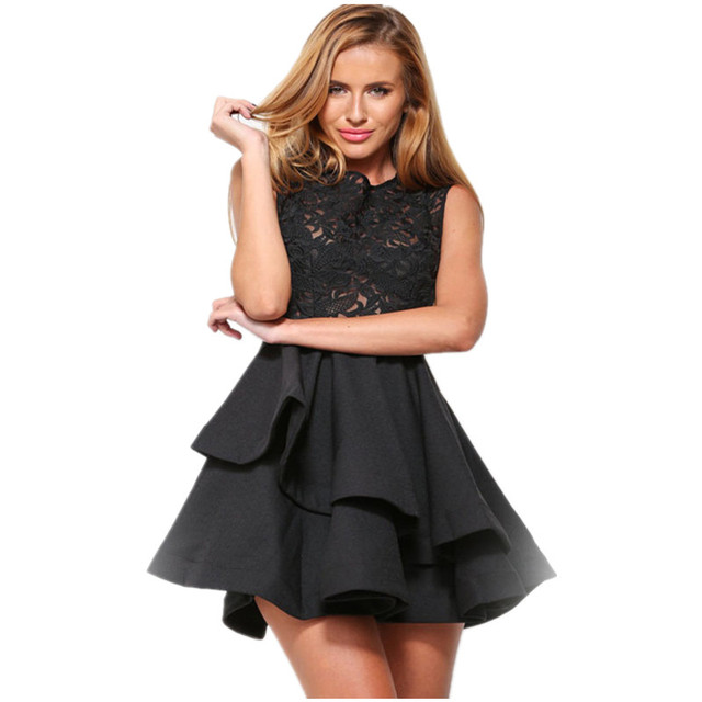 2016 Korean NEW Clothes Cute Dresses Cheap Black And White Lace O ...