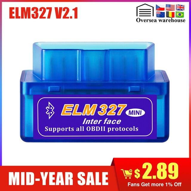 Mini ELM327 Bluetooth 2.0 Giao Diện V2.1 OBD2 OBDII Máy Quét Chuẩn Đoán Tự Động-Dụng Cụ ELM 327 cho Android Torque/MÁY TÍNH OBD 2 Adapter