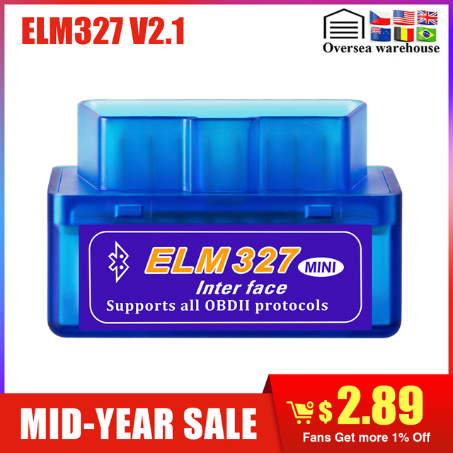 Mini ELM327 Bluetooth 2.0 Interface V2.1 OBD2 OBDII scanner Auto Diagnostic-Tool ELM 327 for Android Torque/PC OBD 2 adapter