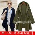 Chaquetas mujer 2016 Solta Blusão mulheres casacos básicos Casuais Com Cordão Com Capuz Tops Mulheres Militares jaqueta Plus size3xl