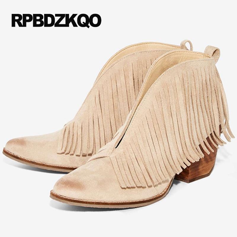 Designer Slip On Pointed Toe Fringe Size 4 Vintage Big Brand Autumn Fall Beige Womens Ankle Boots Medium Heel Chunky Shoes сумка newswear womens medium chestvest