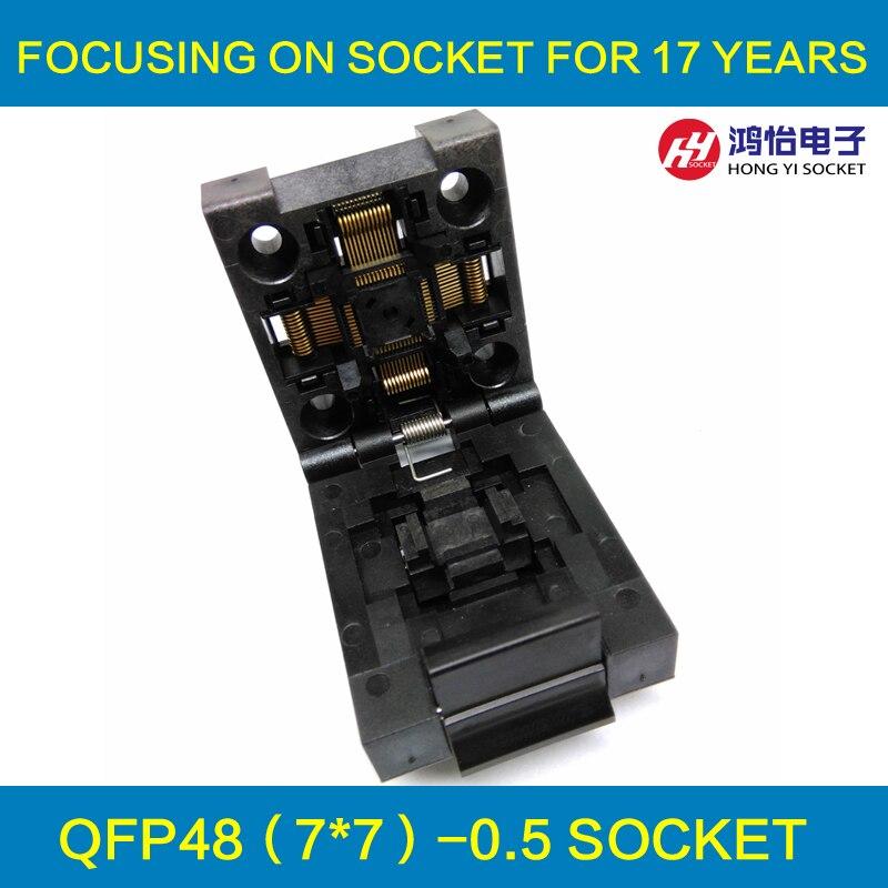 QFP48 TQFP48 LQFP48 Clamshell Pitch 0.5mm Programmer Socket FPQ-48-0.5-06 Test Flash Adapter Conversion Block ucos plcc32 test block test burn zy115a conversion adapter