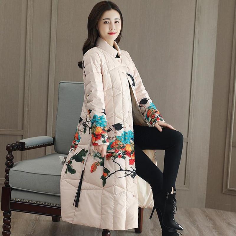 Canard De Long Debout Blanc 2018 Hiver Col Chaud Nouvelles Manteaux Imprimé Plus Manteau Taille Veste Femmes Duvet Dames Outwear aA0qY