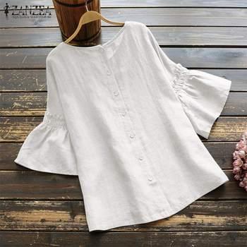 2019 ZANZEA Vintage Ruffle Sleeve Tops Summer Women's Blouse Casual Linen Tunic Female O Neck Blusas Mujer Shirt Plus Size S-5XL 4