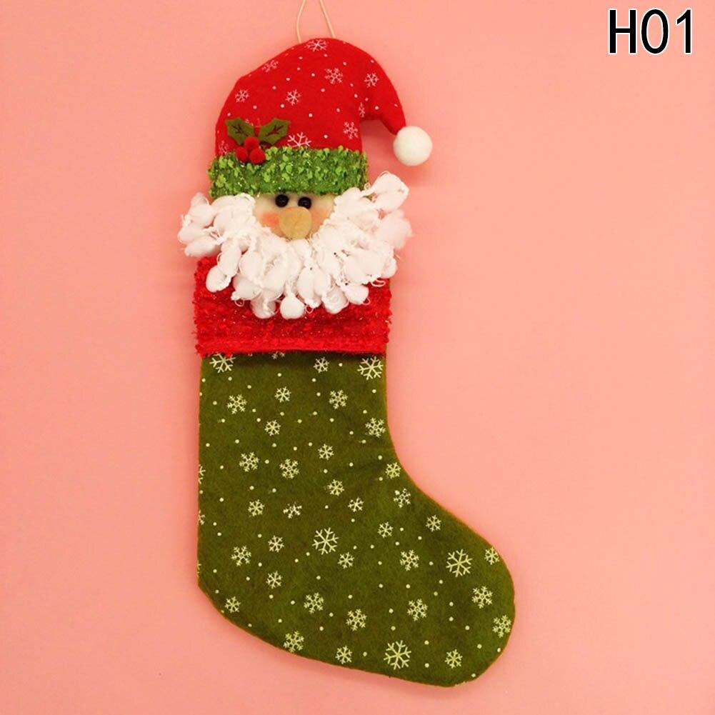 1 PC Handmade Christmas Tree Pendant Socks With Hats Decoration Stuffed Plush Sacks Candy Gifts Bags