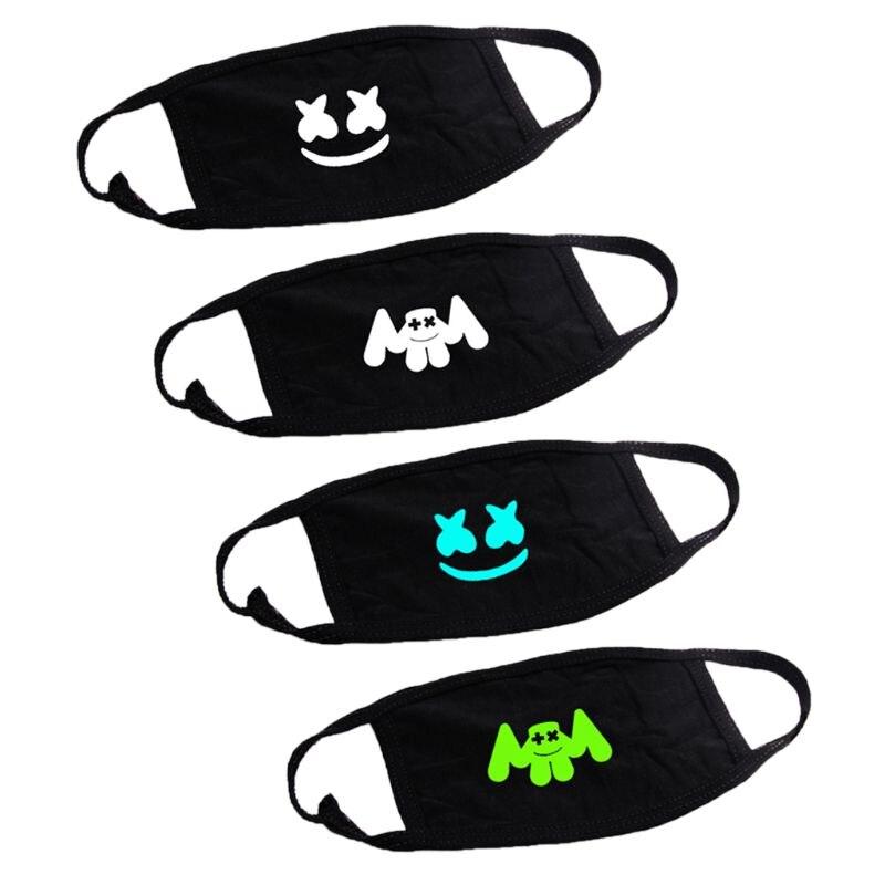 Women Men Harajuku Summer Anti-Dust Mouth Mask Music Hip-Hop DJ Print Luminous Electronic Sound Fan Cotton Respirator Streetwear