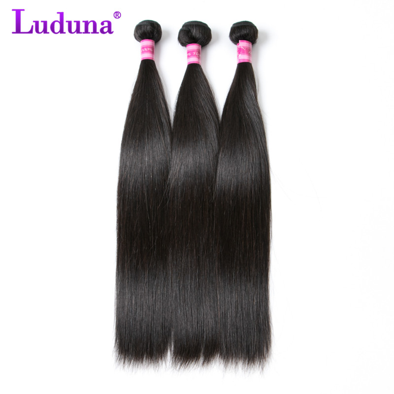Luduna Brazilian Hair Weave Bundles Straight Human Hair 3 Piece Non-remy Hair Weave Extension 8-28 Inch Free Shipping