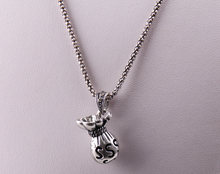 Free Shipping Fashion alloy cute lucky $ Money Bag charm grey rhinestone crystal metal Vintage necklace for children lady gift(China)