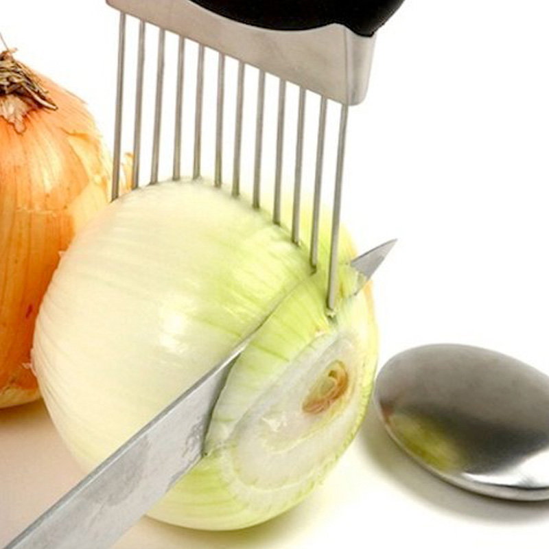 Easy Cut Onion Holder Slicer Vegetable tools Tomato Cutter Stainless Steel Kitch