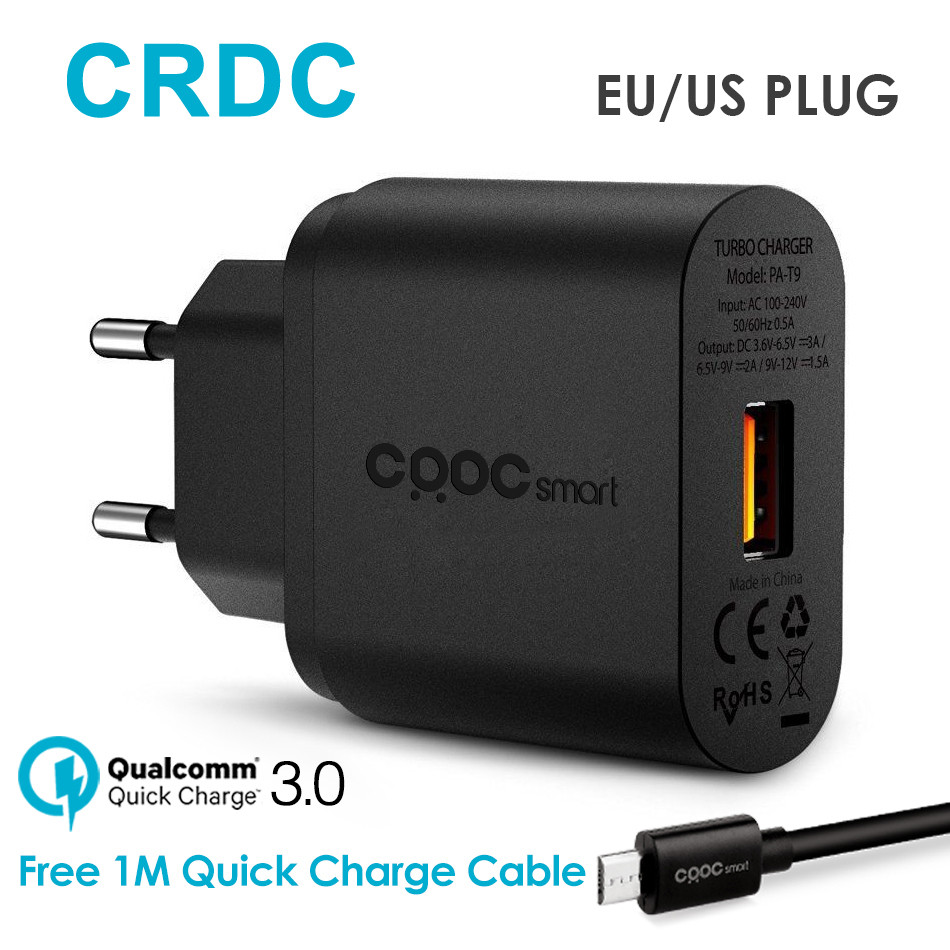 CRDC For Qualcomm Quick Charge 3.0 USB Wall Charger Fast Mobile Phone Charger (Quick Charge 2.0 Compatible) for iphone Xiaomi