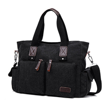 Canvas Leather Men Travel Bags Large Handbags Shoulder Bag Luggage Handbag For 11T
