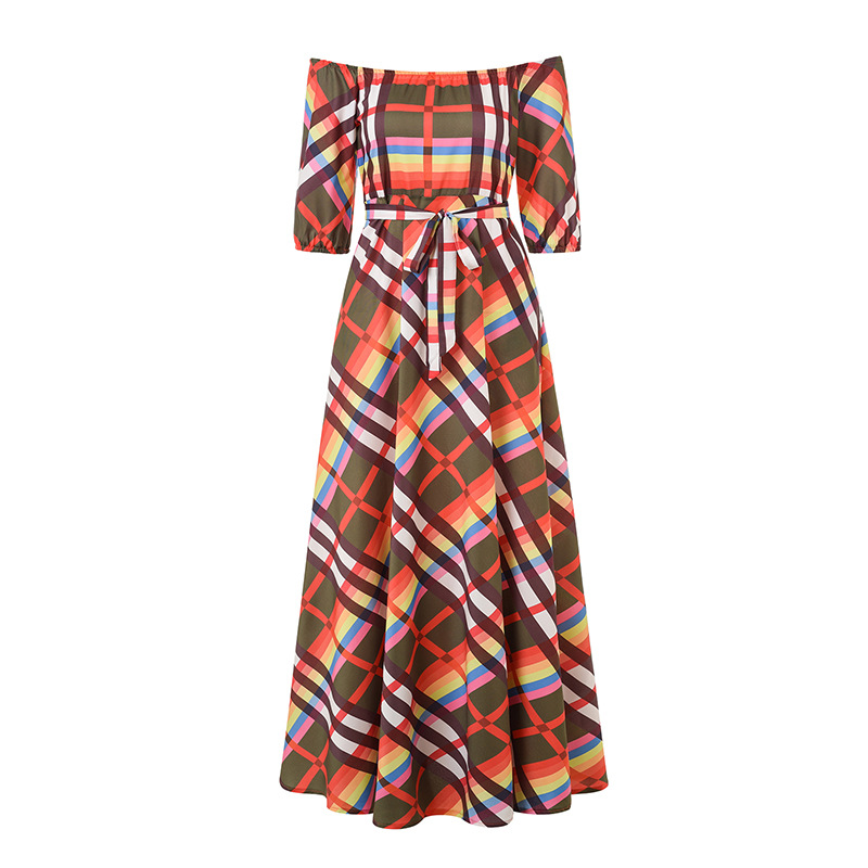Fashion Geometric Print Dresses Women Sexy Off Shoulder Maxi Dress 2019 Summer Casual Elegant Female Long Party Dress in Dresses from Women 39 s Clothing
