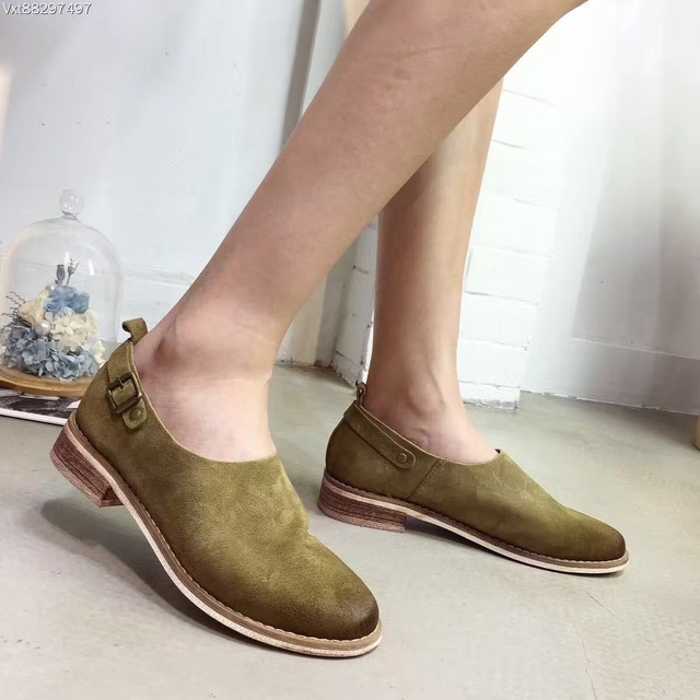 2016 New Design Shoes Cowhide Leather Shoes Women's Loafers Autumn Bullock Shoes Low Top Casual Shoes Comfortable Zapatos Mujer