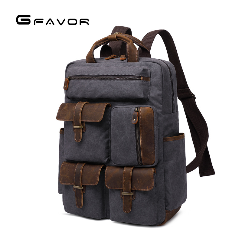 Wax Canvas Leather 15.6 Inch Laptop Backpacks 2019 Men Waterproof Tourist Rucksack Women Vintage Military Large Bagpack YD5351Wax Canvas Leather 15.6 Inch Laptop Backpacks 2019 Men Waterproof Tourist Rucksack Women Vintage Military Large Bagpack YD5351