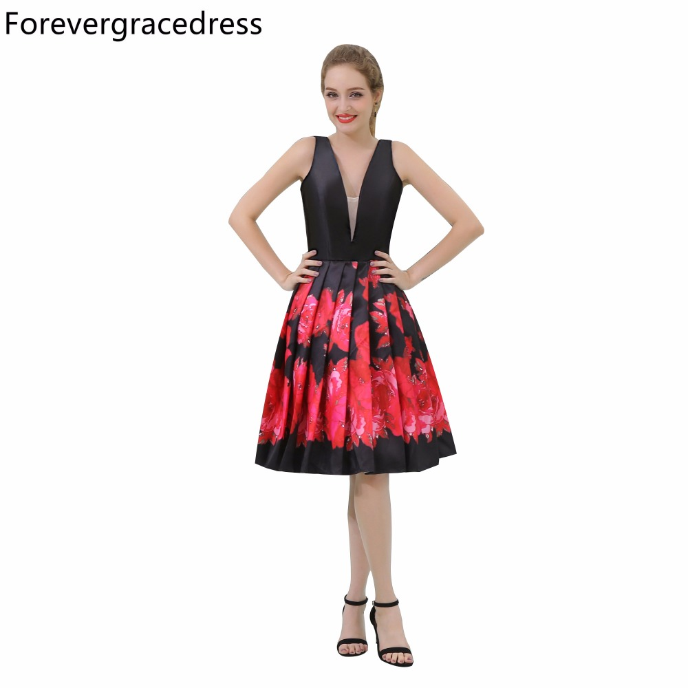 Forevergracedress Real Pictures Multi Colors   Cocktail     Dress   Fashion V Neck Knee Length Short Homecoming Party Gown Plus Size