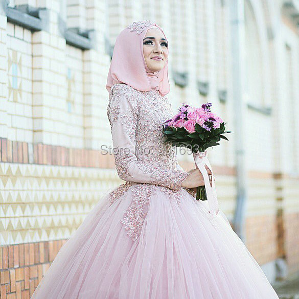 Oumeiya OW300 Pink Tulle Beaded Lace Appliqued High Neck Long Sleeve font b Hijab b font