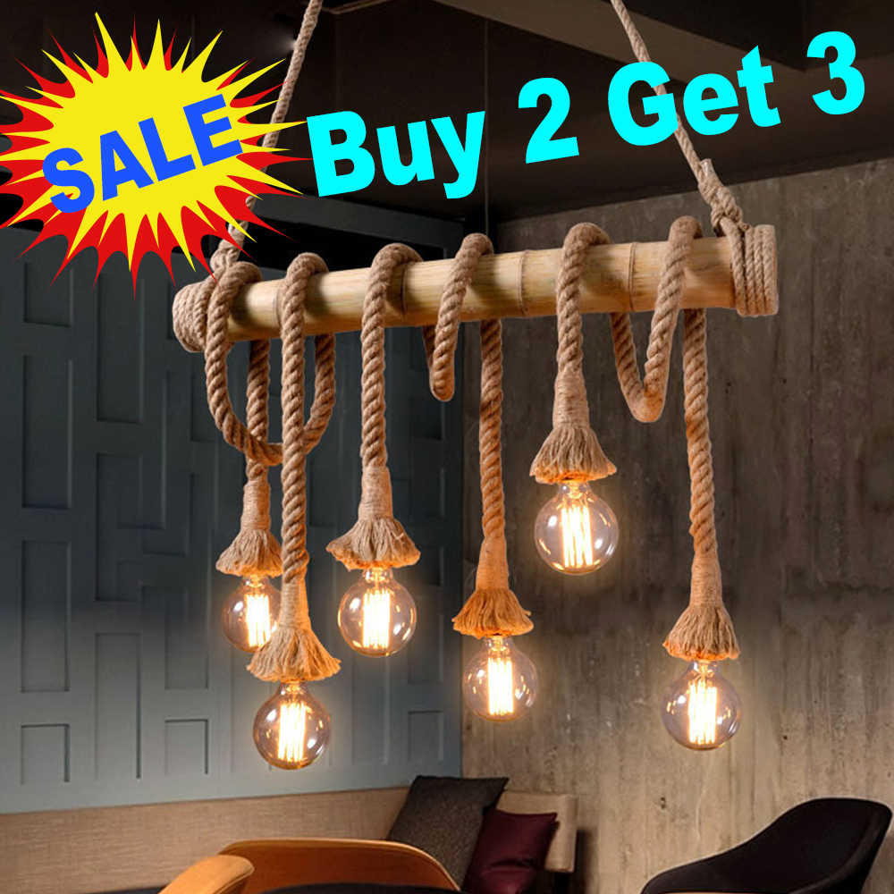 1meter E27 Lamp holder pendant bulb socket Hemp Rope retro style industrial light Base for literature and art decoration