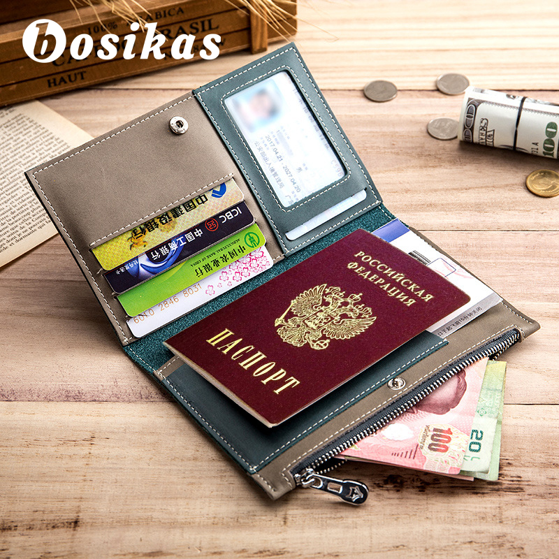 BOSIKAS Travel Passport Cover Card Case Women Men wallet Travel Credit Card Bags Travel ID&Document Passport Holder Coin Purse