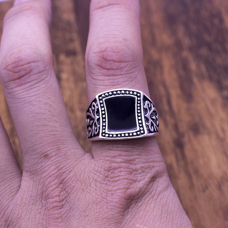 Vintage Männer Schwarz Emaille Ring Mode Minimalistischen Design Überzogener Antike silber Ringe