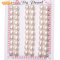 Gem-inside 8mm - 9mm 30 Pairs AAA Grade Half Drilled Freshwater Cultured Pearls Beads For Earrings Stud Jewelry Making 15'' DIY