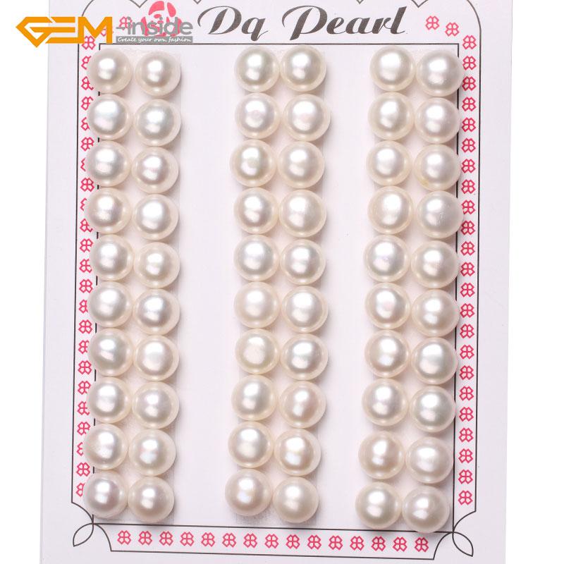 Gem-inside 8mm-9mm 30 paires AAA Grade demi-percé perles de culture d'eau douce perles pour boucles d'oreilles bijoux de fabrication 15 ''bricolage