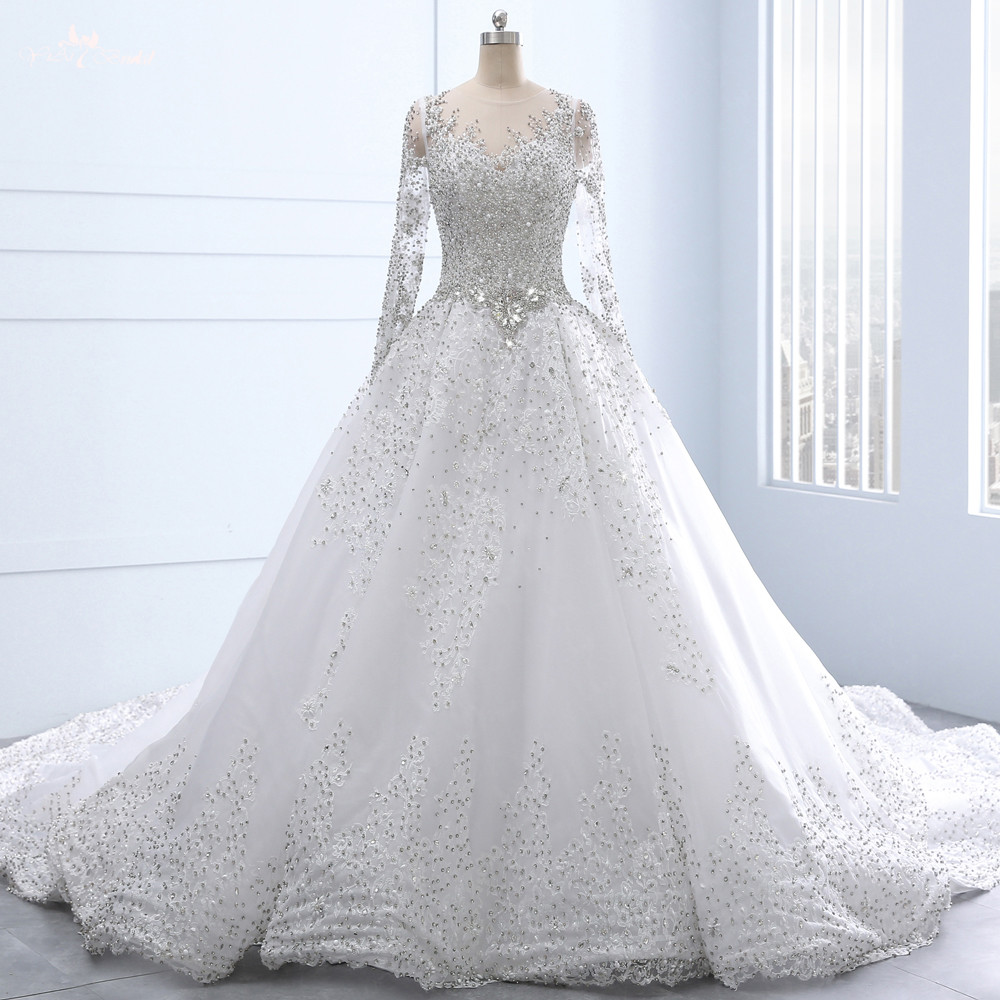 RSW1337 Real Custom Made Long Sleeves Lace Up Back Ball Gown Crystal Bead Lace  Luxury Wedding Dress Vestido De Lluxo b50291ca4d98