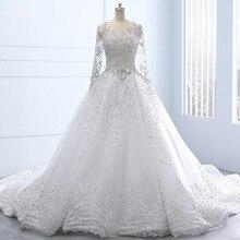 RSW1337 Real hecho a medida De manga larga De encaje hacia arriba el Vestido De bola De cristal cuenta De encaje De lujo Vestido De boda Lluxo