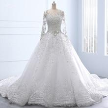 Rsw1337 real feito sob encomenda mangas compridas rendas até voltar vestido de baile cristal grânulo rendas vestido de casamento luxo