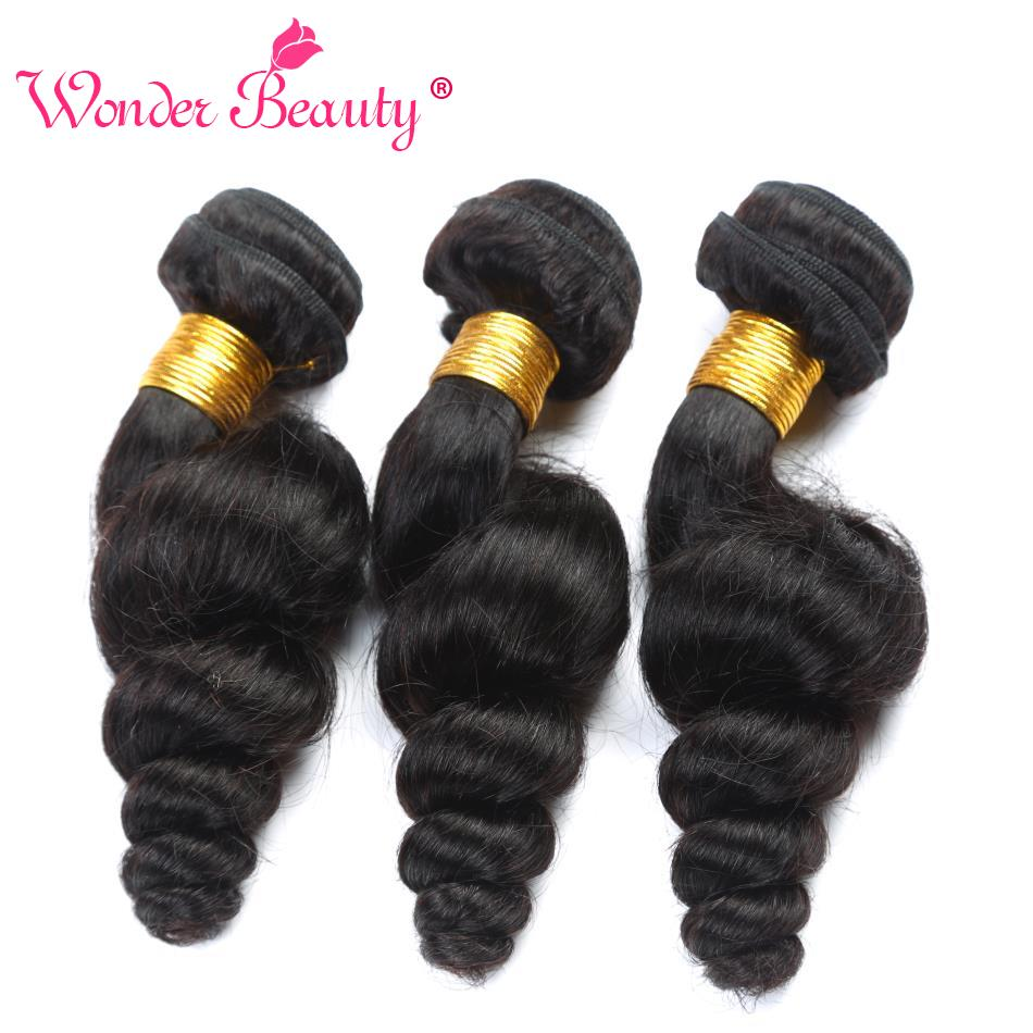 Wonder Beauty Loose Wave Peruvian Hair 100% Human Hair Bundles Non Remy 3 Bundles 8-30in ...