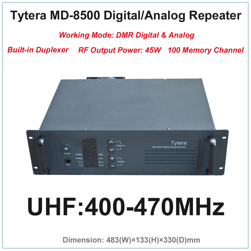 US $835 0 |Tytera TYT MD 8500 UHF 400 470MHz DMR Digital & Analog  Professional Walkie Talkie Repeater with Duplexer(RF Output Power 45W)-in  Walkie
