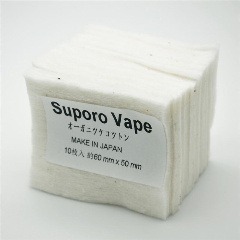 100% Japanese Grown Organic Unbleached Cotton 10 Pads Lot RDA VAPE WICK 5cm*6cm Clean Cotton