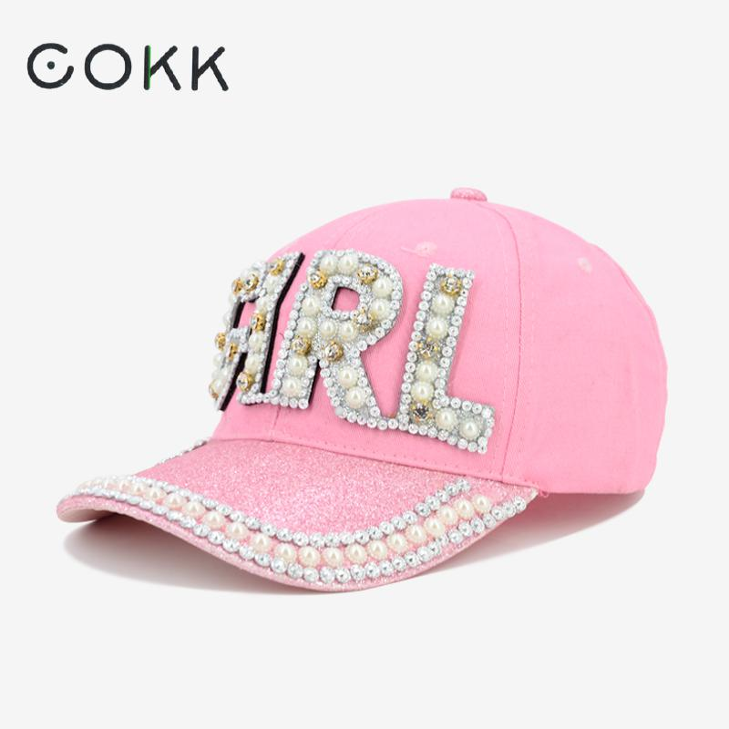 COKK Cap Women Baseball Caps Bling Letter Girl Pearl Sequins Hip Hop Caps Summer Snapback Hats For Women Female Baseball Hats