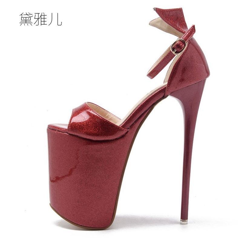 2018 Plus Size 34-43 Summer Style 19cm Red Sexy Ultra High Platform Heels Sandals for Women's with Shoes Woman Wedding Ladies zorssar brand 2017 high quality sexy summer womens sandals peep toe high heels ladies wedding party shoes plus size 34 43