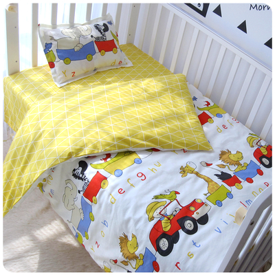 black white star stripe crib bed 100% cottotton 3pcs baby Bedding set include pillow case+bed sheet+duvet cover without filling colorful bedding star and moon duvet cover set 3pcs