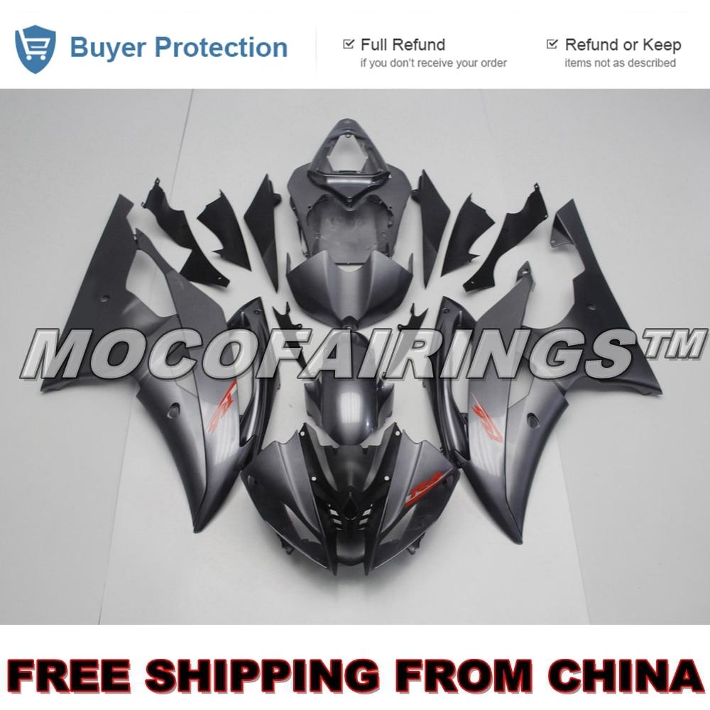 GLOSS GREY Fairings For Yamaha YZF600 R6 Year 08 14 2008 2009 2010 2012 2013 2014 ABS Motorcycle Fairing Kit Bodywork Cowling