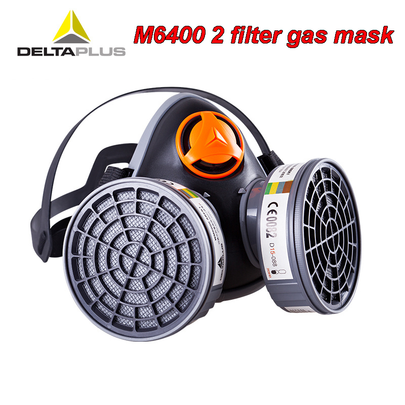 DELTAPLUS M6400 2 Filter gas mask CE certification high quality Respirator mask For Acid gas formaldehyde Toxic gas mask