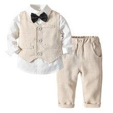 幼児の少年の服 2020 キッズボーイズ結婚式スーツストライプベスト + 白シャツ + パンツ 3 個ページ衣装子供上着