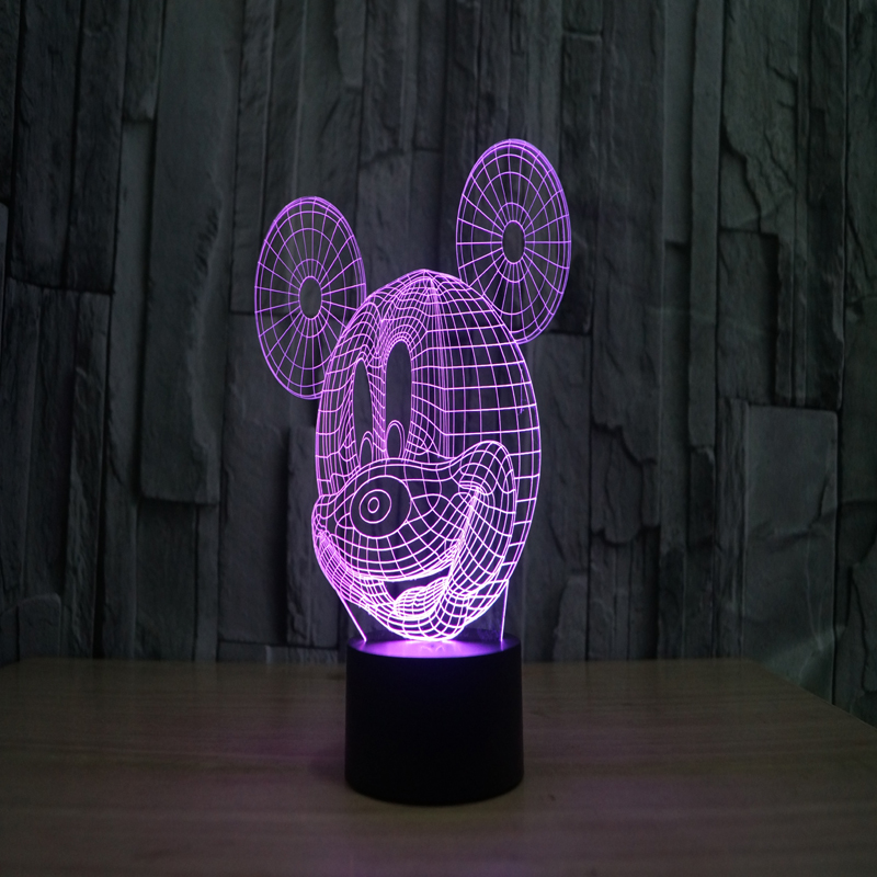 Creative Fashion Small 3D LED Lamp Small Night Lamp Bedside Lamp Mickey Mouse Cartoon Birthday Gift