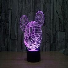 Moda creativa pequeña 3D llevó la lámpara de la noche de la lámpara de noche lámpara de Mickey Mouse de la historieta regalo de cumpleaños