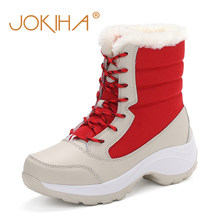 2019 Winter Women Thick Bottom Short Snow Boots Full Fur Lined Warm Shoes Ladies Plush Waterproof Snow Shoes Plus Size Hot Sale(China)