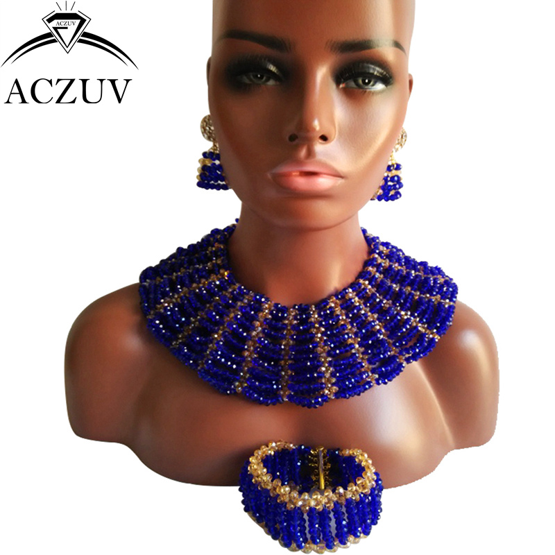 ACZUV Brand Royal Blue Gold Crystal African Nigerian Jewelry Set for Women Bridal Party Wedding Accessories AS001ACZUV Brand Royal Blue Gold Crystal African Nigerian Jewelry Set for Women Bridal Party Wedding Accessories AS001