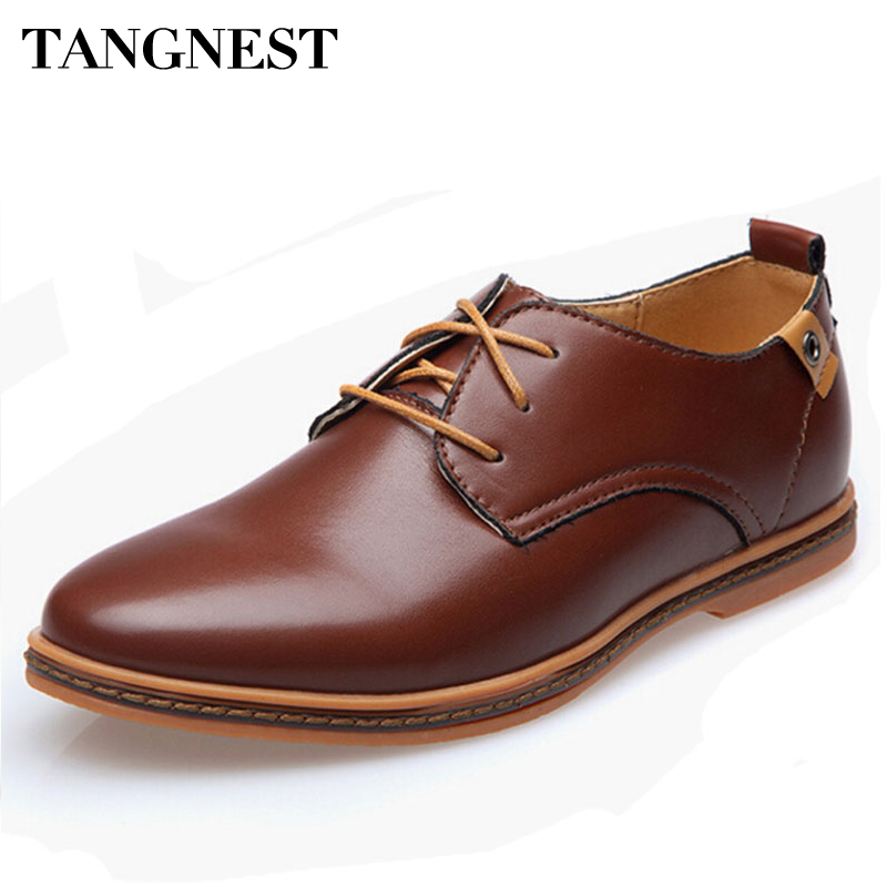 Tangnest 2017 New British Style Shoes Men PU Leather Dress Shoes Solid Lace-up  Male 7af03f4bff6a