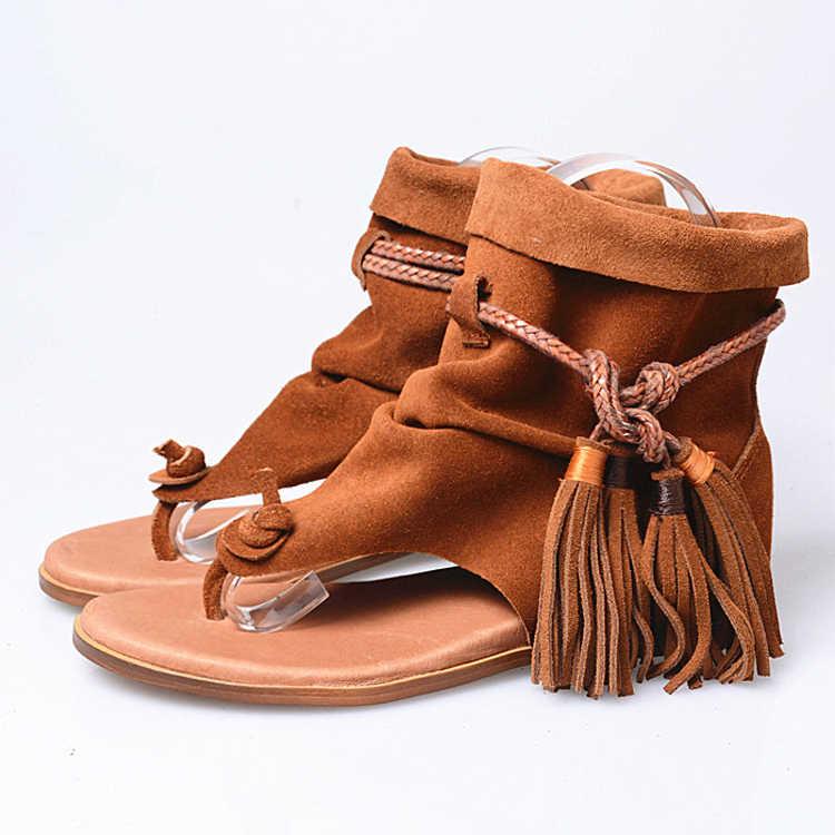 079d7892a887 ... Prova Perfetto Brand Lady Ankle Boots Sandal Shoe Thong Tassel Fringe  Bohemia Summer Ethnic Vintage Style ...