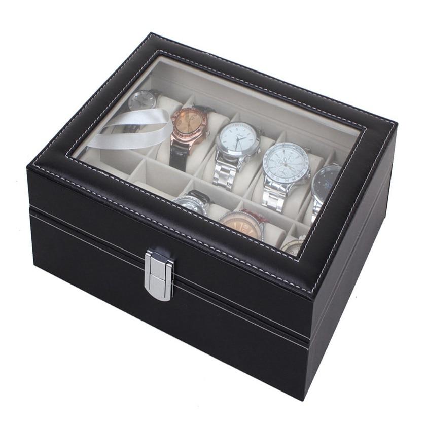 2017 hot sale Leather 10 Slots Wrist Watch Cisplay Box Storage Hol Cer Organizer Case #0713 C