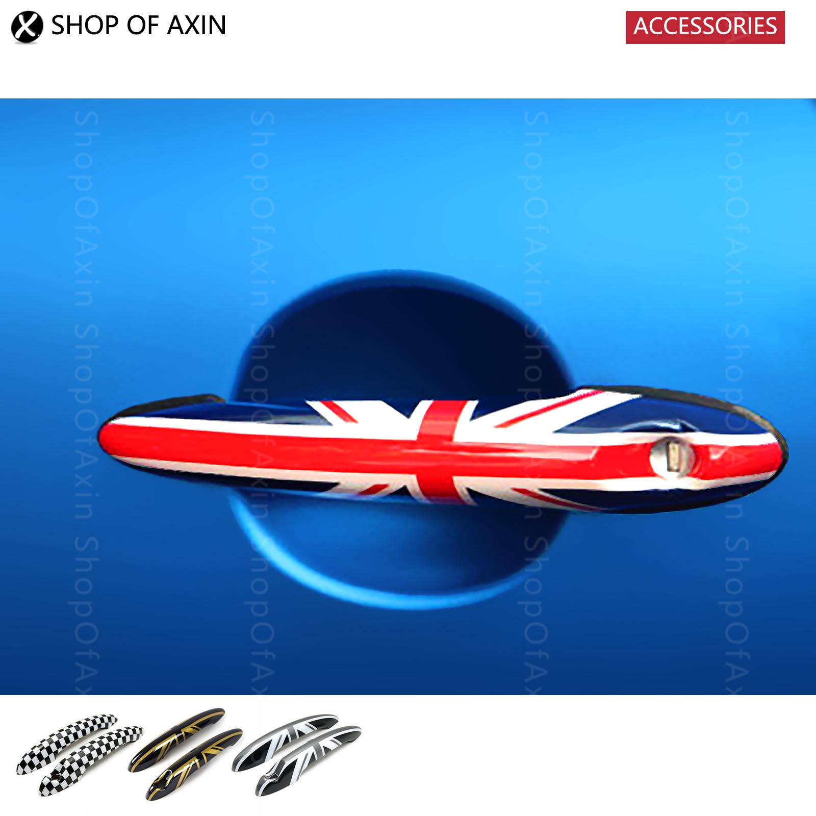 Door Handle Union Jack and Checkered Flag Caps Graphics Cover For Mini cooper one clubman paceman R55 R56 R57 R58 R59 R60 R61
