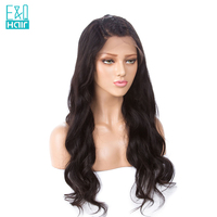 EQ Full Lace Human Hair Wigs With Baby Hair Body Wave 4X4 Silk Top Wig Peruvian Remy Hair 8 24 inch Pre Plucked Hairline