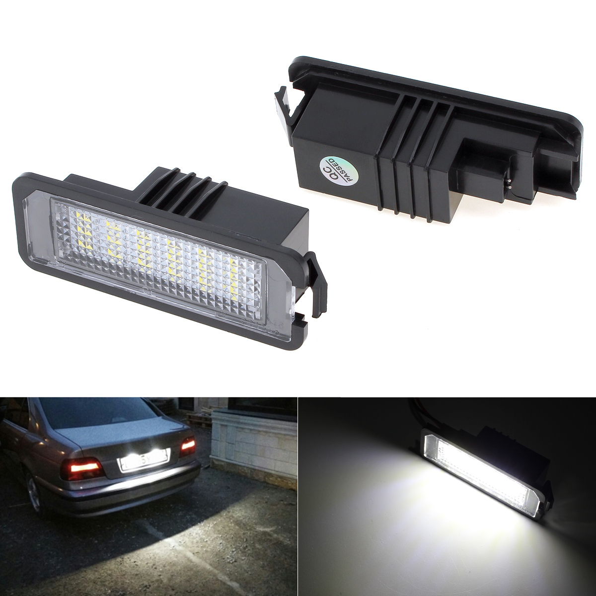 2Pcs LED License Plate Lights SMD3528 6000K Number Plate Light For BMW E82 E88 E90 E92 E93 E39 E60 Sedan M5 E70 X5 E71 E72 X6 2x e marked obc error free 24 led white license number plate light lamp for bmw e81 e82 e90 e91 e92 e93 e60 e61 e39 x1 e84