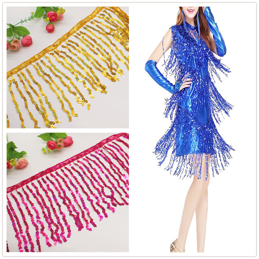 Sequined Fringe Trims Latin Tassel Lace Hologram Sequined Broderad Appliqued DanceWear Macrame Trimming Bullion 15CM / 4.9 Yds