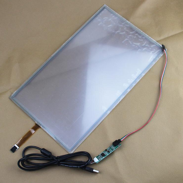 5pcs/lot 15.6 4 wire 364*216mm Resistive Industry Touch Screen Panel Digitizer Glass+USB Controller Widescreen for Win 7 PC 5pcs lot intersil isl95838hrtz isl95838 95838hrtz qfn dual 3 2 pwm controller for imvp 7 vr1 cpus