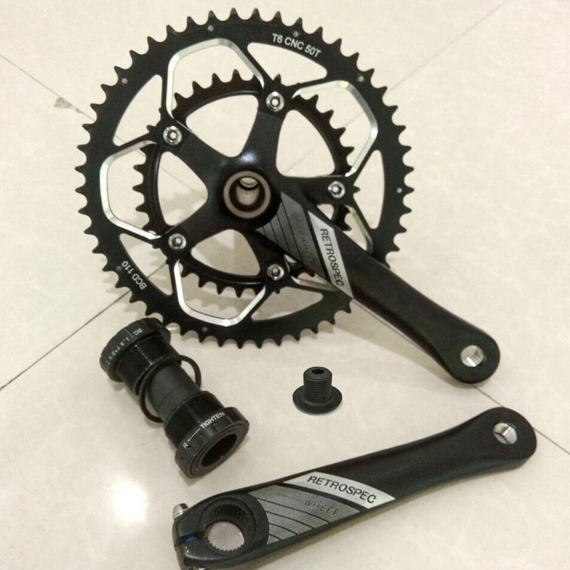 Road Bicycle Crankset 7/8/9speed Folding Bike Crank Chain Wheel 34T-50T CNC Aluminum Alloy Gear Tooth Disc with Bottom Bracket cnc alloy mtb bike bicycle chain bash guard mount chainring guide 30 40t p c d 104mm bike crankset protection